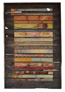 Bar Code Plaster Relief on Barnwood 38x58inches July 2014