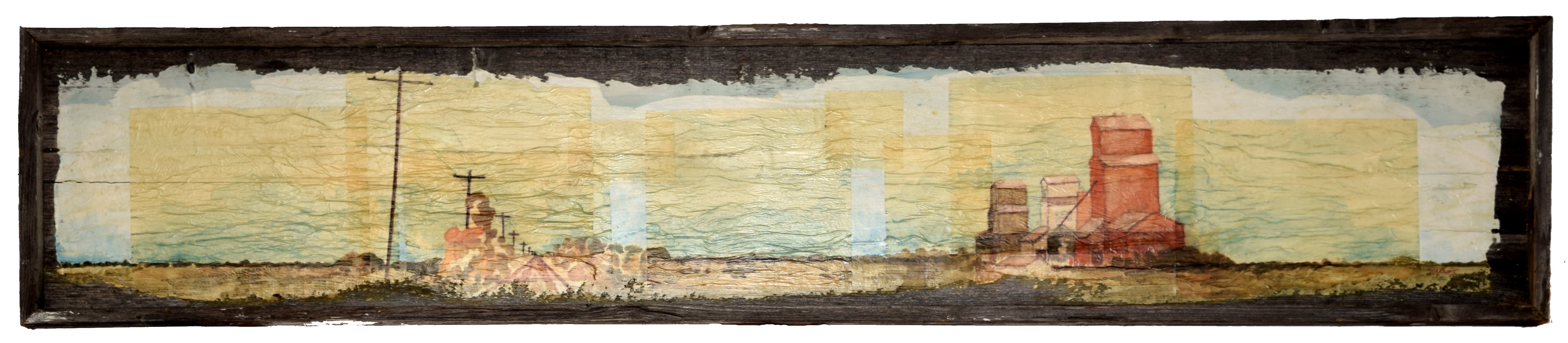 Ed's Elevator 22 Mixed Media on Barnwood 11x62inches July 2014