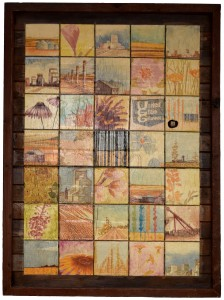 Prairie Quilt Plaster Relief on Barnwood 38x52inches July 2014